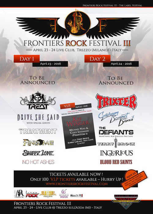 Frontiers Rock Festival 2016 - Nov. 27, 2015 Announce