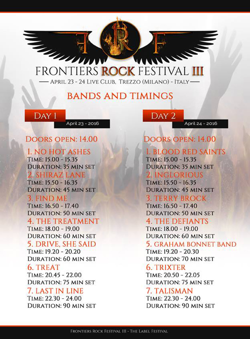 Frontiers Rock Festival 3  - Bands And Timings