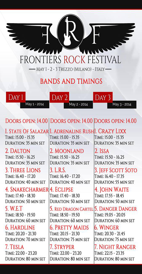 Frontiers Rock Festival 2014 : Bands And Timings