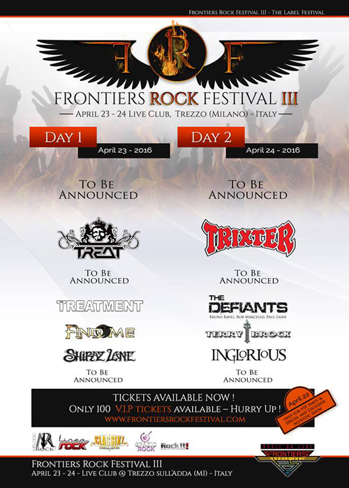 Frontiers Rock Festival 2016 - Nov. 13, 2015 Announce