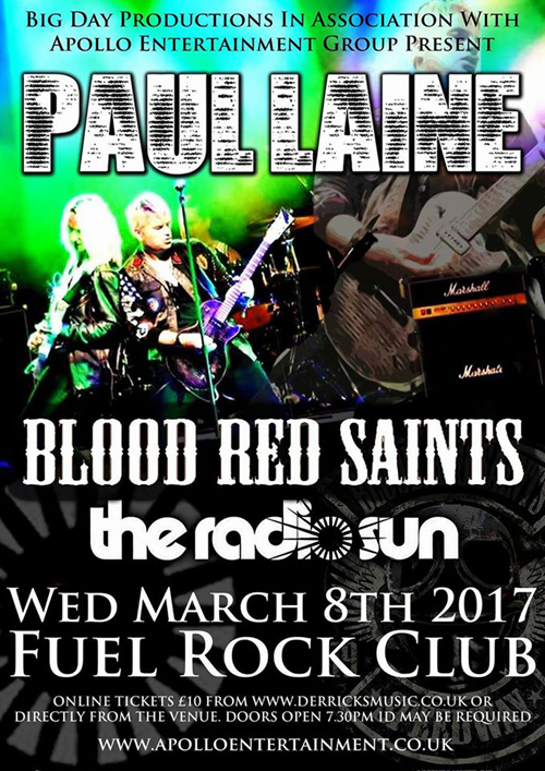 Paul Laine at Fuel Rock, Cardiff, Wales, UK : March 8, 2017
