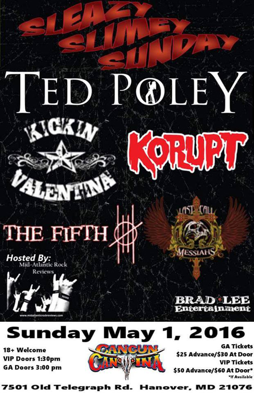 Ted Poley at Cancun Cantina in Hanover, MD : May. 1, 2016